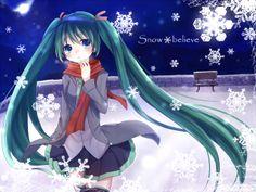 Winter & Snow Anime Girl   miku