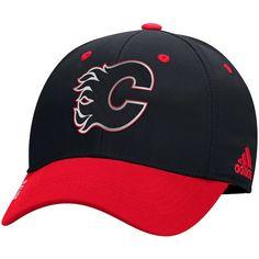 f7220f68aac Men s Calgary Flames adidas Black Centennial Flex Hat