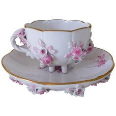 For Sale on - Meissen swan handle teacup and saucer set. Measures: Cup measures 3 inches D x inches H Saucer Tea Cup Set, Tea Cup Saucer, Pink Tea Cups, Cute Tea Cups, Vintage Cups, Vintage Tea, Turkish Coffee Cups, Tea Party, Tea Time