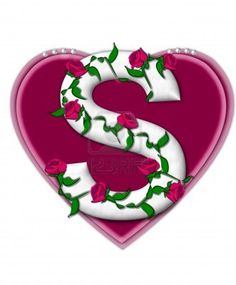 Picture of The letter S, in the alphabet set Rosey Vine, is a white letter with climbing roses twining around its shape. It sets on two large hearts topped with pearls. stock photo, images and stock photography. Cute Emoji Wallpaper, Name Wallpaper, Apple Wallpaper Iphone, Heart Wallpaper, Alphabet Letters Design, S Alphabet, Alphabet And Numbers, Monogram Letters, Letter Designs