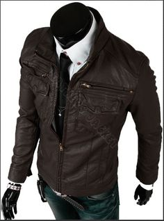 Handmade men brown biker leather jacket, men Brown slim Brando biker leather jacket with front four pockets. Only $159.99