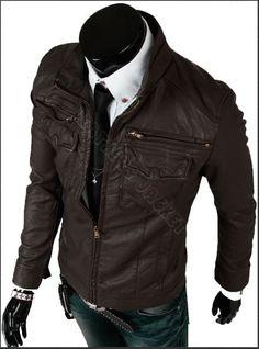 Handmade men brown biker leather jacket, men Brown slim Brando biker leather jacket with front four pockets. Only $159.99