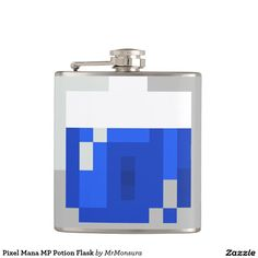 Pixelated Pixel Mana MP Potion Flask for Video Game Gamers