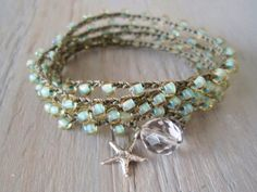 "Seafoam crochet wrap bracelet necklace ""Malibu Star"", sterling silver starfish dangle, olive green, pale mint, surfer chic beach boho. $43.00, via Etsy."