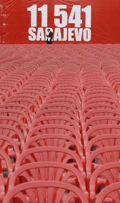 11.541 red chairs, in the center of Sarajevo, that are the number of people died during the Siege, twenty years ago