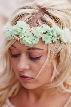 Crown Tiara - mint and beige - silk ruffle flowers - accessory - 4 color options,  mint, lavender, white and ivory