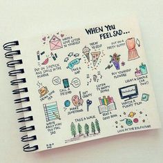 A page with small drawings of what would put you in a good mood whenever you feel sad. A perfect bullet journal collection, or journal page.  Bullet Journal, Creativity, BuJo, Collection, Creative inspiration.