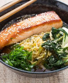 Pan-Roasted Salmon With Spicy Miso Broth and Wakame: 19 Healthy Salmon Recipes via Brit + Co Salmon Recipes, Fish Recipes, Seafood Recipes, Dinner Recipes, Healthy Recipes, Healthy Meals, Healthy Options, Healthy Cooking, Soup Recipes