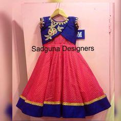 Kids Indian Wear, Kids Ethnic Wear, Kids Frocks, Frocks For Girls, Little Girl Dresses, Girls Dresses, Kids Dress Patterns, Baby Dress Design, Kids Lehenga
