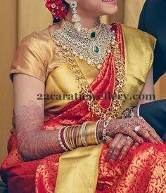 Jewellery Designs: Bride in Thin Trendy Gold Haram