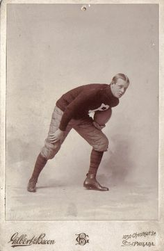 1893 Universityof Pennsylvania Football Player Cabinet photo.  Great period football uniform and pose, and the photo is taken by prominent Philadelphia photographer Gilbert & Bacon.
