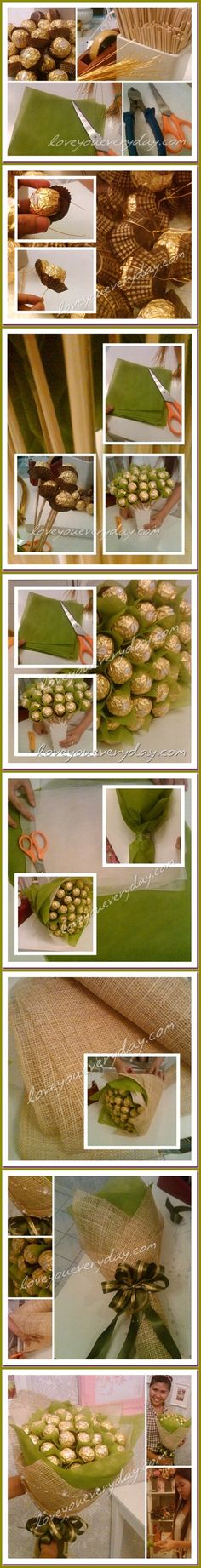 Ferrero Rocher Bouquet:) Ferrero Rocher, Toothpicks, green tissue paper squares, green tissue paper sheets, sheet of burlap & ribbon:) Good for housewarmings, parties, XMAS or holiday gifts...
