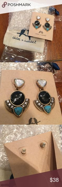 Chloe and Isabel Capri convertible earrings NWT!! BRAND NEW with packaging!! Matching necklace also in my closet! Can be just studs or the large earrings. Very unique colors! Chloe + Isabel Jewelry Earrings