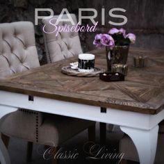 PARIS SPISEBORD 180 langt pluss 2 forlengelsesplater som gjør bordet hele 280cm. 100cm bredt og 76cm høyt. Dette bordet har selvsagt også en fantastisk intropris!! 7900kr  Bordplaten er av #resirkulert #alm og understellet er i #bjørk og kan bestilles i både sort og hvitt #classicliving #diningtable #spisebord #vakrehjem #interiør #interior #stoler #roser #roses