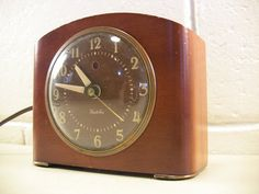 Vintage Alarm Clock Modern Art Deco Solid Wood Tombstone Style For Repair  by EclectiquesBoutique