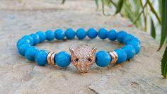 Vivid Stabilized Blue Turquoise, Gold Leopard Head Inspaired Men's Bracelet Jewelry, Gemstone Bracelet, Mens Bling Gold Leopard Bracelet