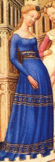 cotehardie with interesting embellishment. Probably century, appears in The Belles Heures, which first appears in an inventory note of the Duke de Berry's possessions in Medieval World, Medieval Art, Medieval Costume, Medieval Dress, Medieval Fashion, Medieval Clothing, Historical Costume, Historical Clothing, 14th Century Clothing