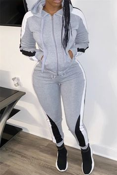 Colorblock Drawstring Design Zipped Top & Pant Sets trendiest dresses for any occasions, including wedding gowns, special event dresses, accessories and women clothing. Swag Outfits, Casual Outfits, Cute Outfits, Girl Outfits, Grey Two Piece, Two Piece Pants Set, Photographie Blonde, Suits For Women, Clothes For Women