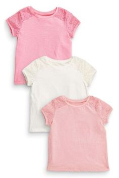 Buy Three Pack Pink Broderie Basic T-Shirts online today at Next: United States of America Next Clothing Kids, Latest Fashion For Women, Kids Fashion, Shirts For Girls, Kids Outfits, Pink, T Shirt, Stuff To Buy, Shopping