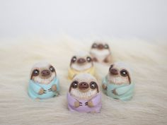 Hand Sculpted & Painted Baby Sloths By WhimsyCalling On Etsy  *More Things & Stuff