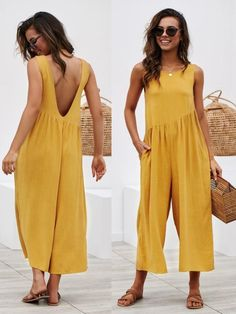 Solid Color Open Back Casual Jumpsuits – stylinbo The Content To Suit Your Needs If You Value casual clothes Check out BohoSc for the latest styles in boho fashion. 42 Stylish Summer Outfits Ideas To Copy Right Now Rompers Women, Jumpsuits For Women, Black Lace Romper, Stylish Summer Outfits, Mode Abaya, Black Overalls, Plus Size Kleidung, Jumpsuit Pattern, Casual Jumpsuit