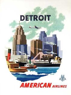 American Airlines Poster for Detroit, Michigan
