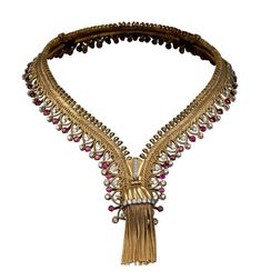 Zip necklace transformable into a bracelet. Gold, platinum, rubies, diamonds. 1954. From Van Cleef & Arpels