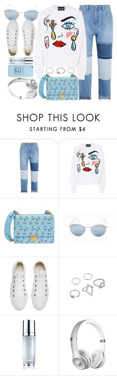 """""""Copenhagen"""" by monmondefou ❤ liked on Polyvore featuring Steve J & Yoni P, Boutique Moschino, Prada, Ray-Ban, Converse, La Prairie, white and Blue"""
