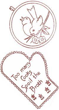 Download--vintage potholder patterns--embroider or applique