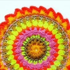 """""""Make this bright and vibrant Sunburst design Helen's Autumn Sunshine crochet Mandala using simple and easy crochet stitches with bobble stitch and spike stitch. This mandala design is worked across 13 rounds and measures approx 9 inches across. Free Mandala Crochet Patterns, Crochet Stitches Patterns, Sewing Patterns, Crochet Cross, Free Crochet, Bobble Stitch, Slip Stitch, Easy Stitch, Single Crochet Stitch"""