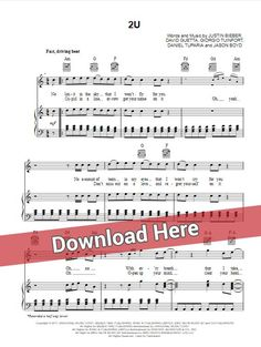 David Guetta 2U sheet music, piano notes, chords ft. Justin Bieber