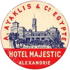 Luggage Stickers, Luggage Labels, Vintage Luggage, Vintage Travel Posters, Vintage Advertisements, Vintage Ads, Alexandria Egypt, Alexandria City, Travel Sketchbook