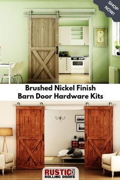 Our single and double barn door hardware kits are now available in Brushed Nickel finish. Get high quality metallic hardware at a fraction of the price of stainless steel. Browse our selection today! Diy Barn Door, Barn Door Hardware, Rest Up, Nickel Finish, Brushed Nickel, Rustic Style, Rustic Barn, Double Barn Doors, Interior Barn Doors