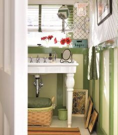 Decorate Ruling to Break: Everything must match. Who says molding has to be white and all textile and patterns need to coordinate exactly?     See 4 more rules it's ok to break: http://www.countryliving.com/homes/decor-ideas/decorating-rules    #bathrooms #decorating
