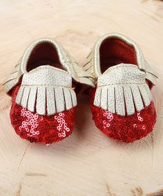 Another great find on #zulily! Red Sequin & Gold Fringe Leather Moccasin by Boutique Only #zulilyfinds