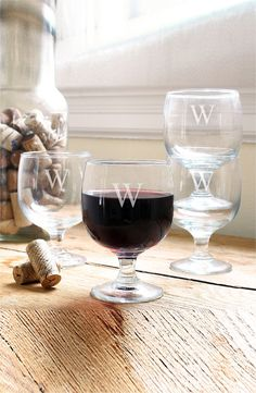 Adding these wine glasses to the wishlist. The etched initials look elegant and add a personal touch.
