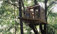 The bucket again and love the way it ties into two trees.  50 Kids Treehouse Designs