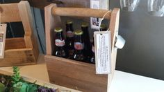 Wooden 6 pack holder with opener