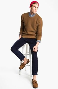 To create an outfit for lunch with friends at the weekend pair a brown crew-neck pullover with dark blue chinos. Elevate this ensemble with brown suede tassel loafers.  Shop this look for $133:  http://lookastic.com/men/looks/beanie-longsleeve-shirt-crew-neck-sweater-chinos-tassel-loafers/5349  — Red Beanie  — Grey Longsleeve Shirt  — Brown Crew-neck Sweater  — Navy Chinos  — Brown Suede Tassel Loafers