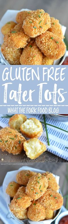 Gluten Free Tater Tots from What The Fork Food Blog. Super crispy outside, soft fluffy potato inside - these make an amazing appetizer, side dish, or snack!