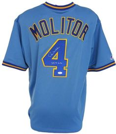 """Featured is a Paul Molitor Signed Milwaukee Brewers Cooperstown Collection Majestic Jersey, which is inscribed """"""""3319 Hits"""""""". The jersey is hand signed by Paul Molitor and included is a JSA witnessed"""