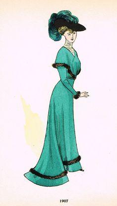"La Mode Feminine Fashion Plate- """"1907 C"""" - Chromolithograph - c1920"