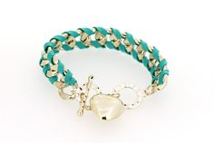 Korean Stylish Lady Love Pendant Designed Handmaking Alloy and Leather Rope Peacock Blue Charming Woven Bracelets for Girls