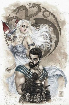 Mike Krome - Game of Thrones signed Print, in Artur & Biggi J.'s Print Collection Comic Art Gallery Room Daenerys Drogo, Game Of Throne Daenerys, Khal Drogo, Daenerys Targaryen, Game Of Thrones Khaleesi, Arte Game Of Thrones, Game Of Thrones Artwork, Game Of Thrones Fans, Got Dragons
