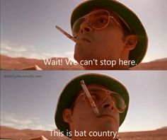Bat country Johnny Depp, Movies Showing, Movies And Tv Shows, Fear And Loathing, About Time Movie, Hilarious, Funny, Great Movies, Movie Quotes