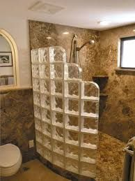Resultado de imagen para half wall shower small bathroom