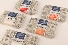 Packaging of the World: Creative Package Design Archive and Gallery: Young Seafood Food Branding, Food Packaging Design, Packaging Design Inspiration, Brand Packaging, Organic Packaging, Product Packaging, Sandwich Packaging, Clever Packaging, Plastic Packaging