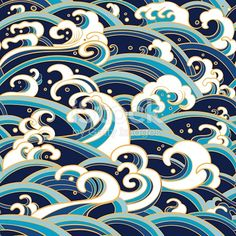 seamless pattern with water waves and splashes grafik Traditional oriental seamless pattern with ocean waves, foam,. Japanese Patterns, Japanese Prints, Water Waves, Ocean Waves, Backgrounds Wallpapers, Brewster Wallpaper, Art Asiatique, Japanese Waves, Art Japonais