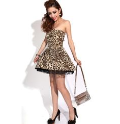 Off Shoulder Leopard Flower Print Dress