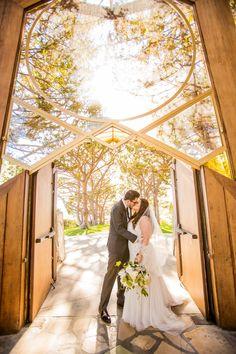Visit livestranded.com to see our wedding at Wayfarers Chapel in Rancho Palos Verdes & Chart House Redondo Beach. Galina Signature David's Bridal Plus Size Wedding Dress. Beautiful Day Photography. #wedding #wayfarerschapel #southerncalifornia #weddingdress #outdoor #glasschapel